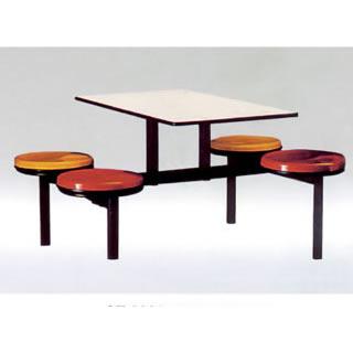 四人餐桌椅-圆凳面