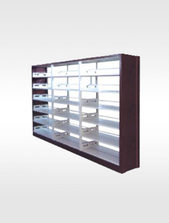 4006-木护板双柱双面书架